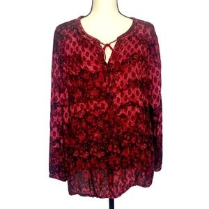 Lucky Brand Red Print Blouse